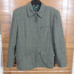 Ralph Lauren Green Plaid 100% Lambswool Blazer
